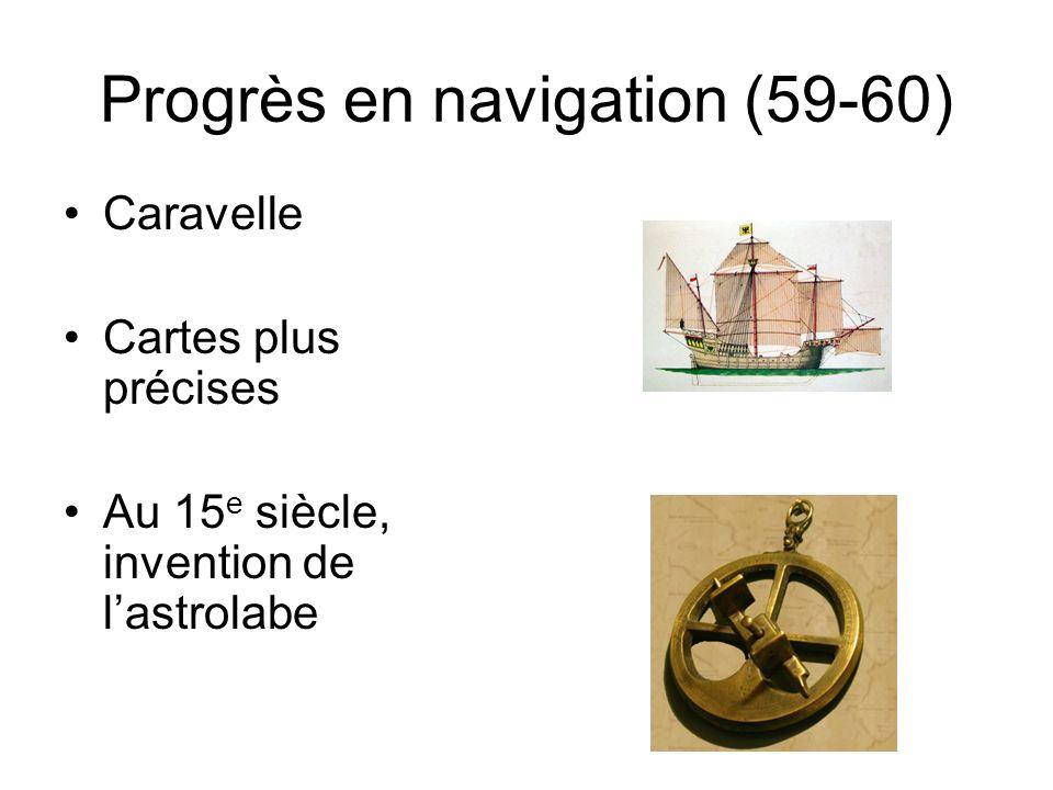 Progrès en navigation (59-60)