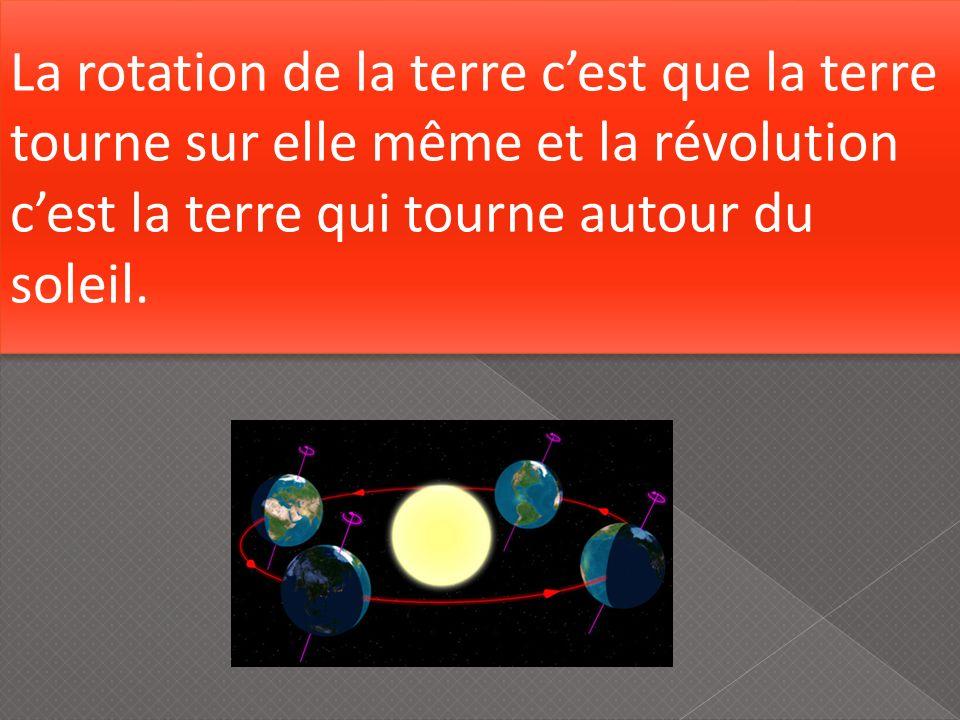 La rotation de la terre c'est que la terre tourne sur elle même et la révolution c'est la terre qui tourne autour du soleil.