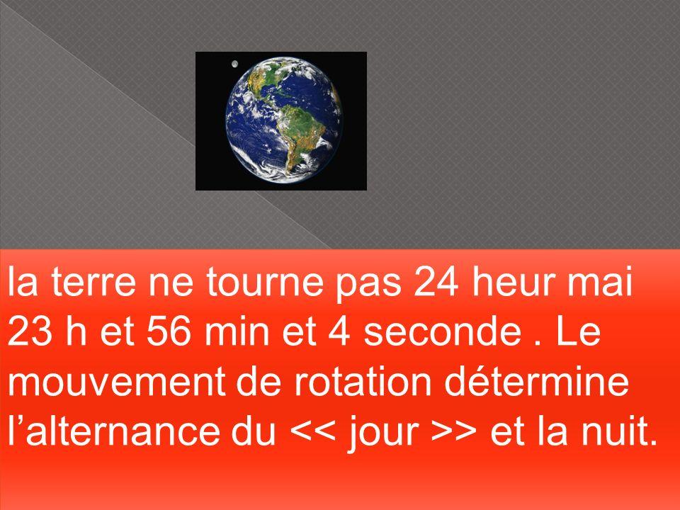 la terre ne tourne pas 24 heur mai 23 h et 56 min et 4 seconde