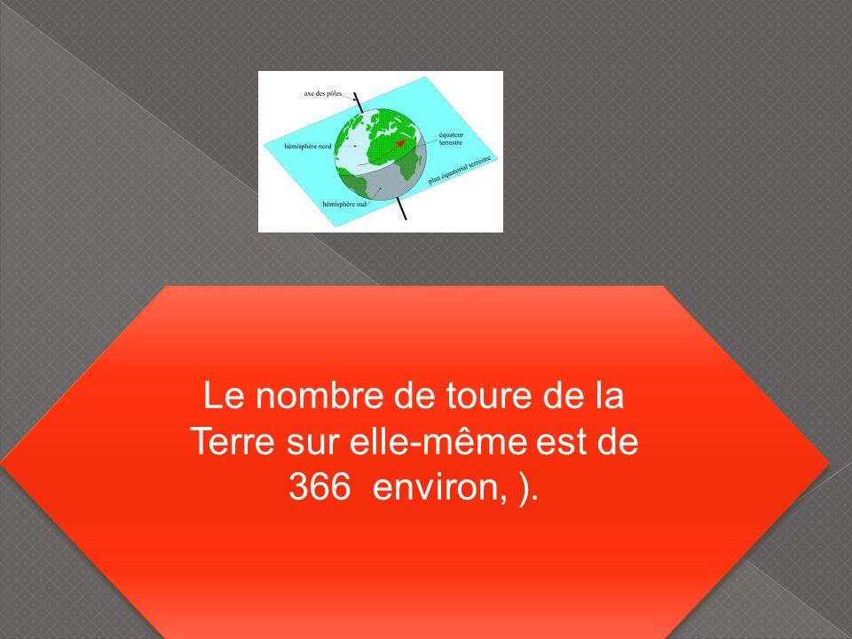 Le nombre de toure de la Terre sur elle-même est de 366 environ, ).