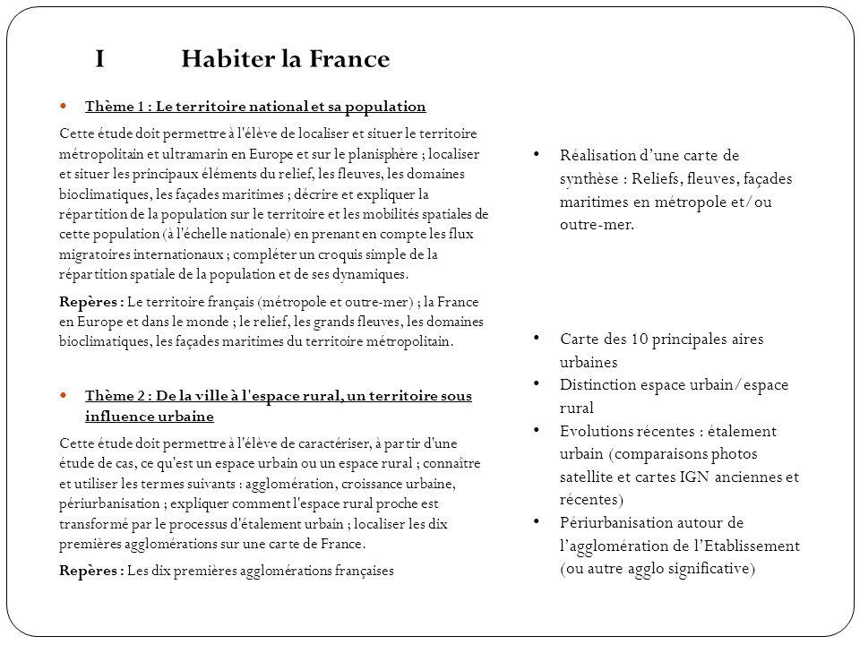 I Habiter la France Thème 1 : Le territoire national et sa population.
