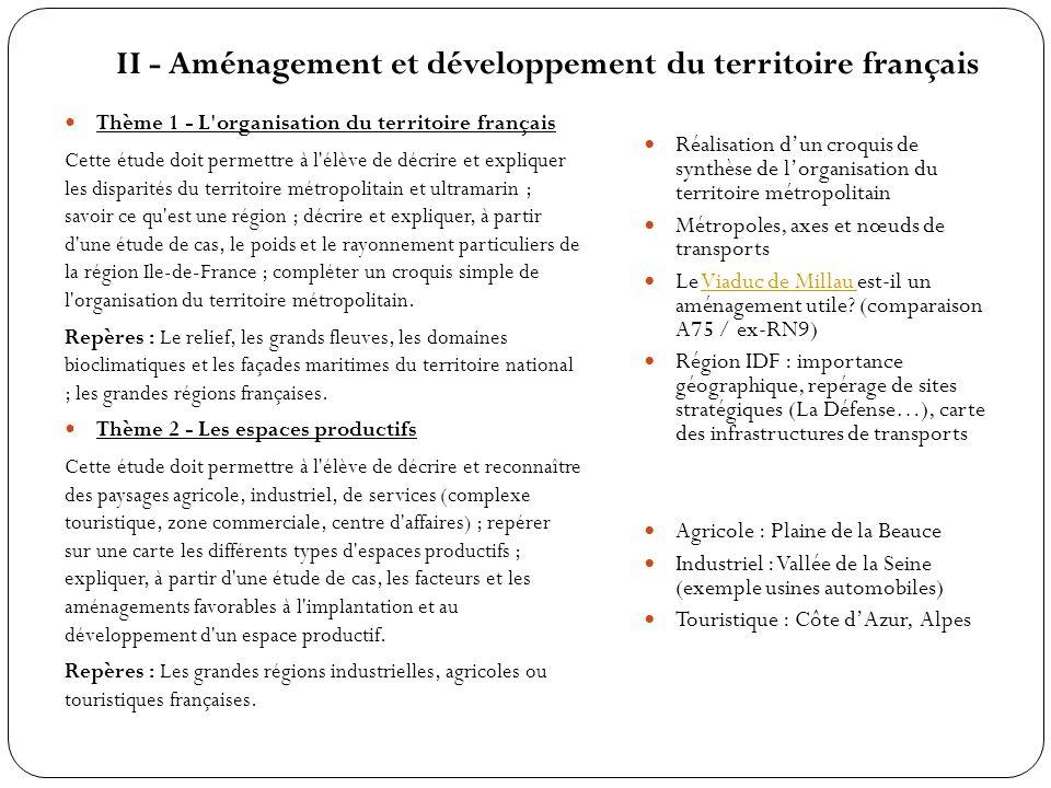 II - Aménagement et développement du territoire français