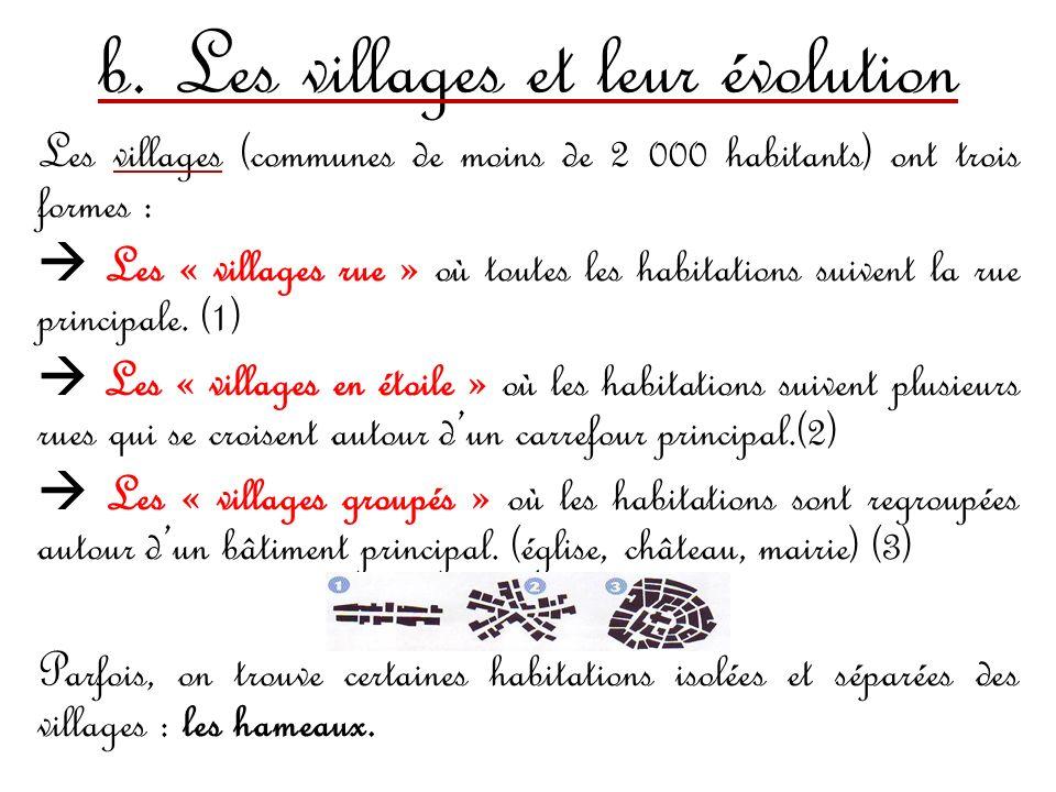 b. Les villages et leur évolution