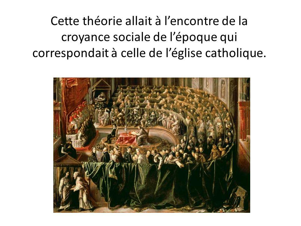 Cette théorie allait à l'encontre de la croyance sociale de l'époque qui correspondait à celle de l'église catholique.