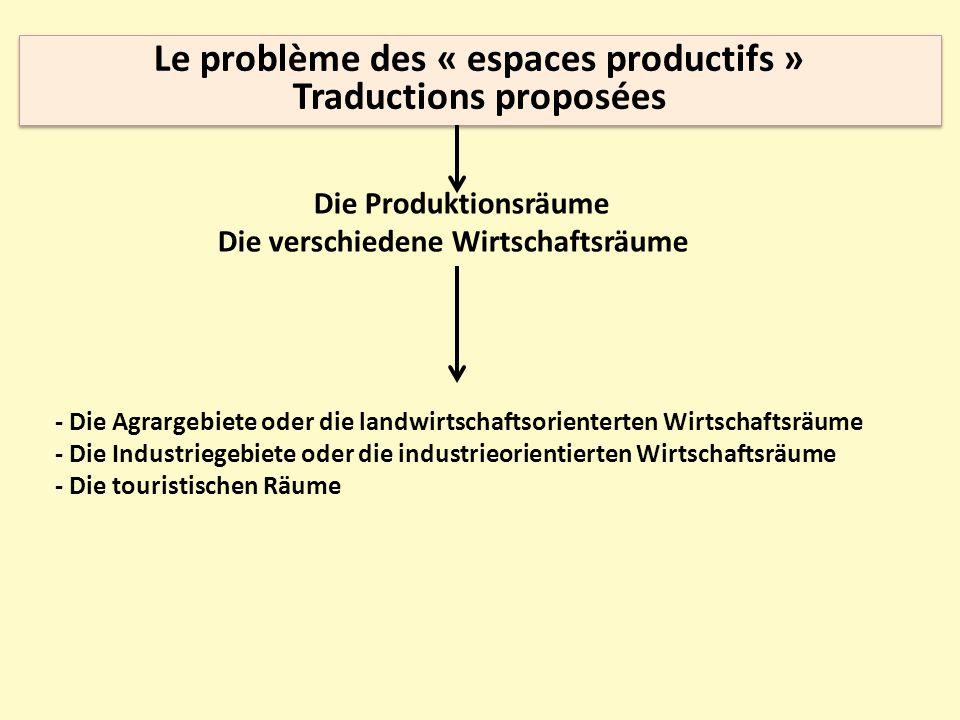 Le problème des « espaces productifs » Traductions proposées