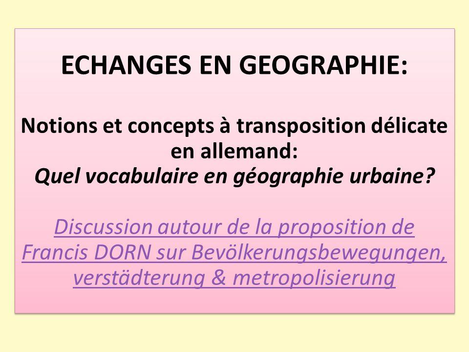 ECHANGES EN GEOGRAPHIE: