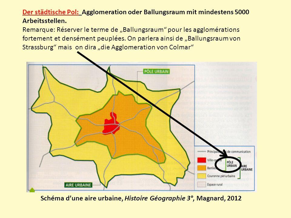 Der städtische Pol: Agglomeration oder Ballungsraum mit mindestens 5000 Arbeitsstellen.
