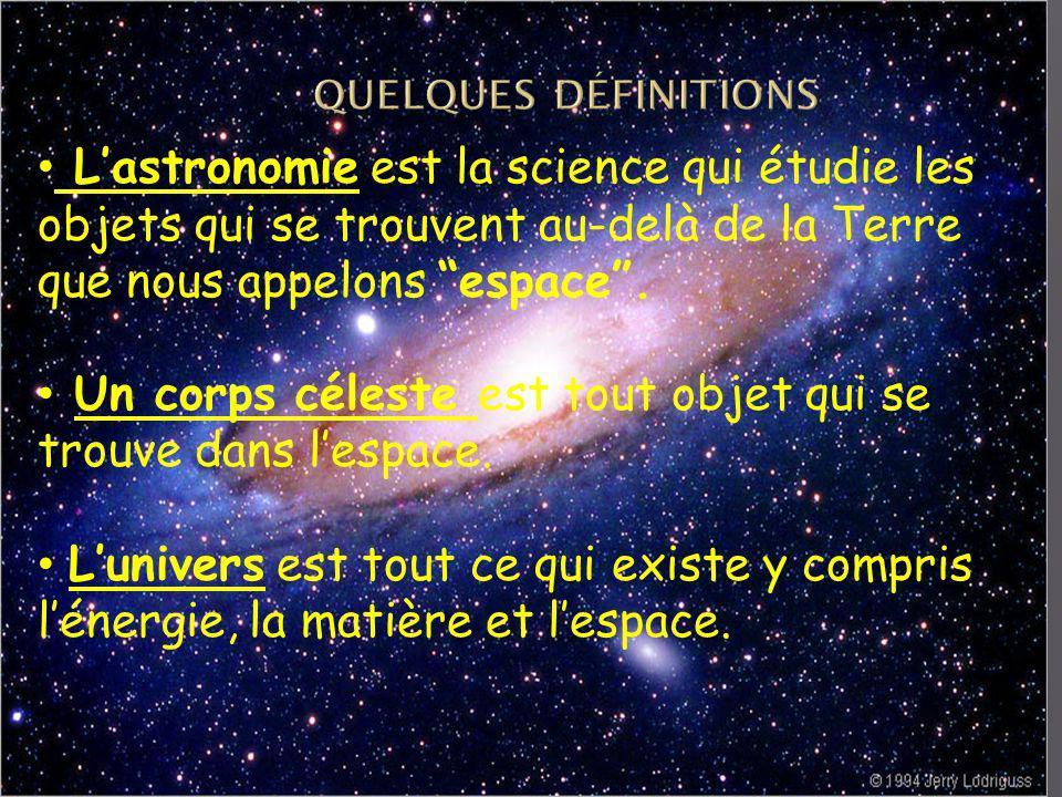 quelques définitions L'astronomie est la science qui étudie les objets qui se trouvent au-delà de la Terre que nous appelons espace .