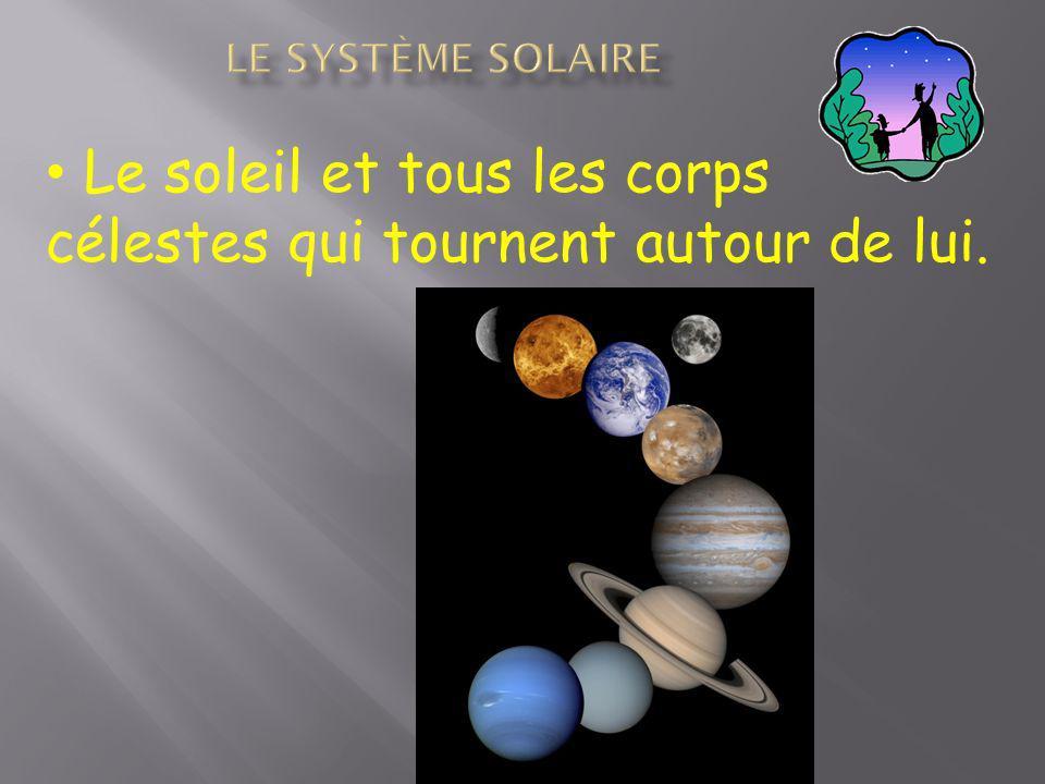 Le système solaire Le soleil et tous les corps célestes qui tournent autour de lui.