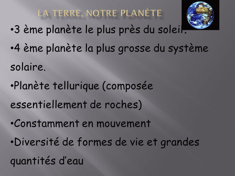 La terre, notre planète 3 ème planète le plus près du soleil.