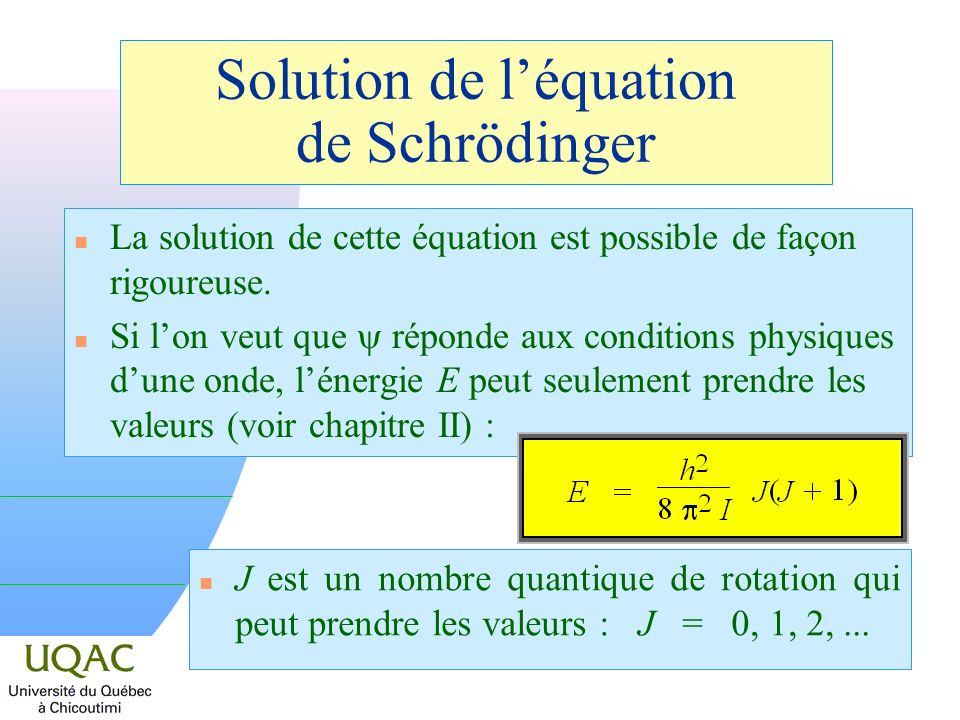 Solution de l'équation de Schrödinger