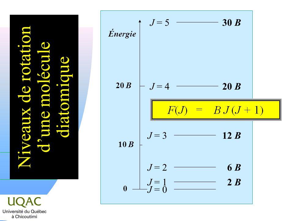 Niveaux de rotation d'une molécule diatomique
