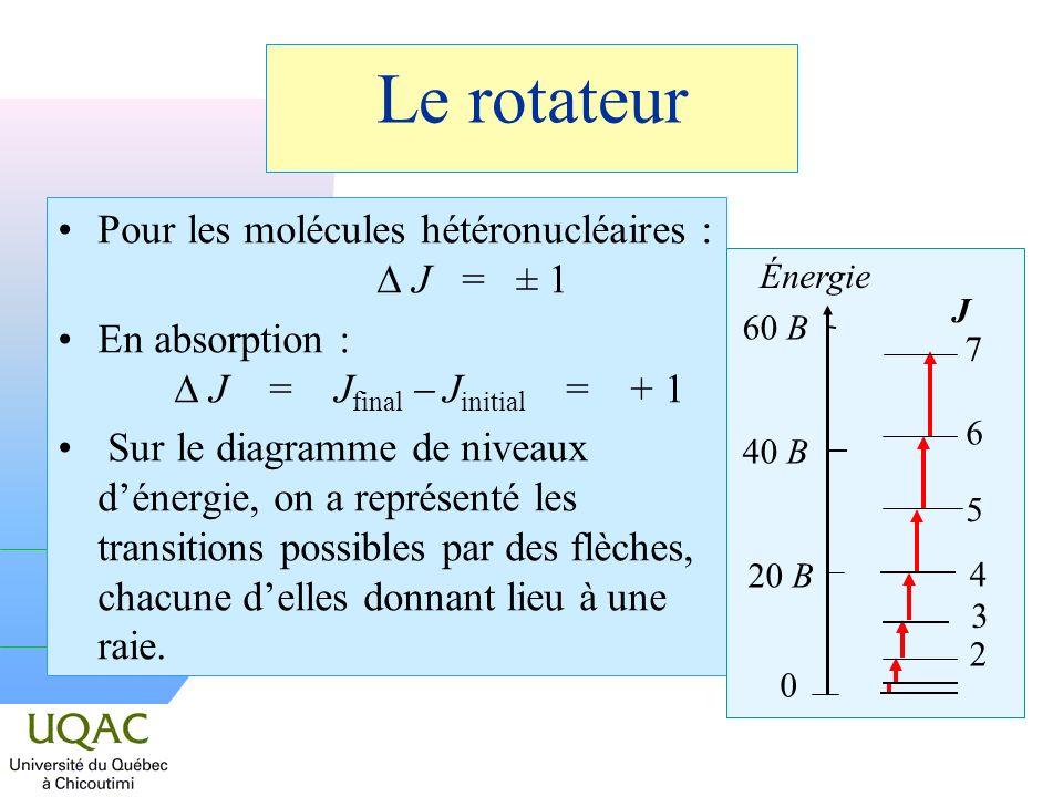Le rotateur Pour les molécules hétéronucléaires : D J = ± 1