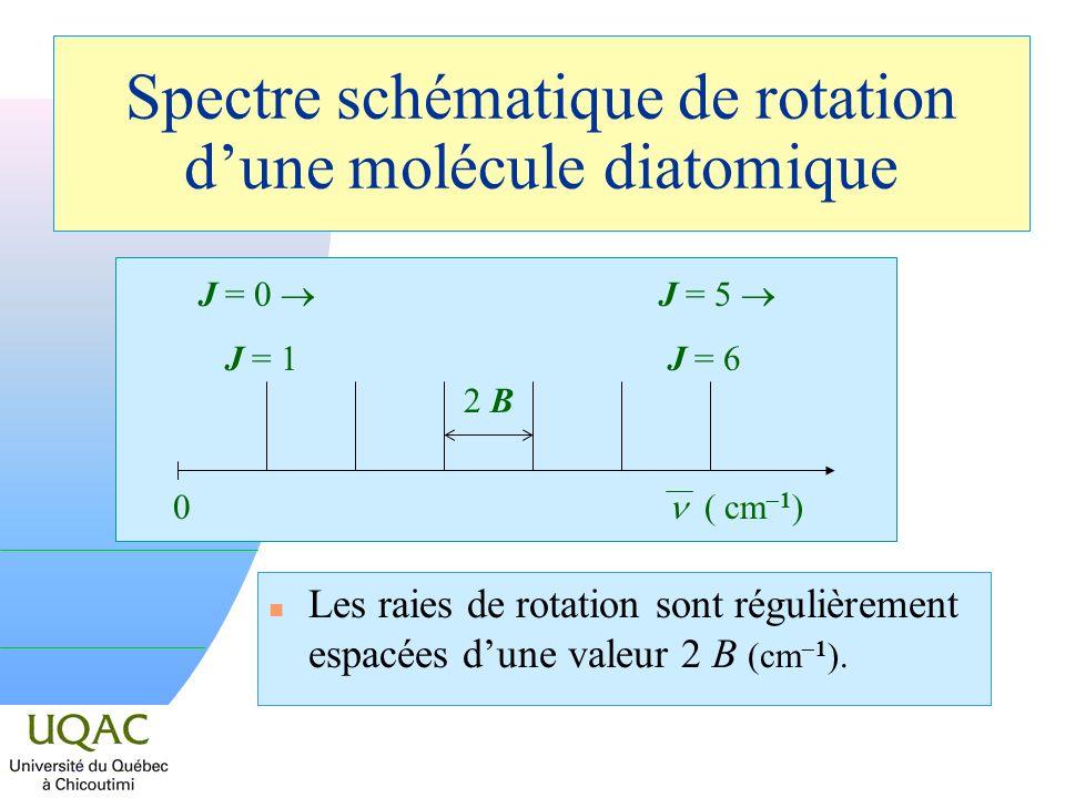 Spectre schématique de rotation d'une molécule diatomique