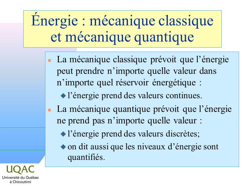 Énergie : mécanique classique et mécanique quantique