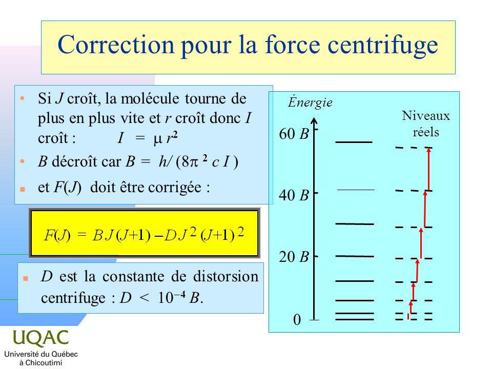 Correction pour la force centrifuge