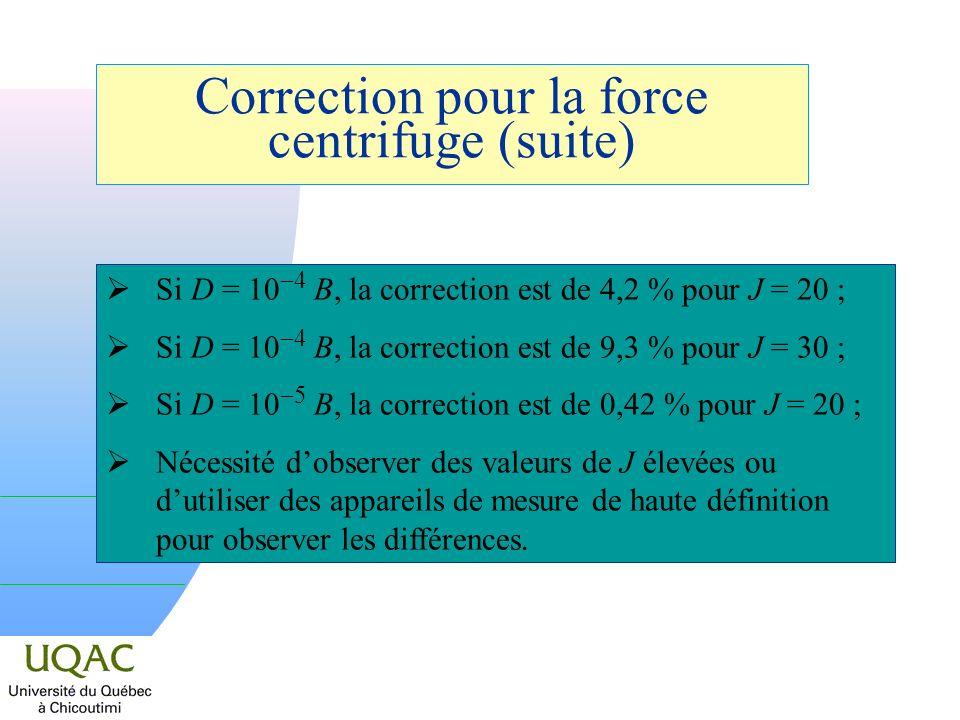 Correction pour la force centrifuge (suite)