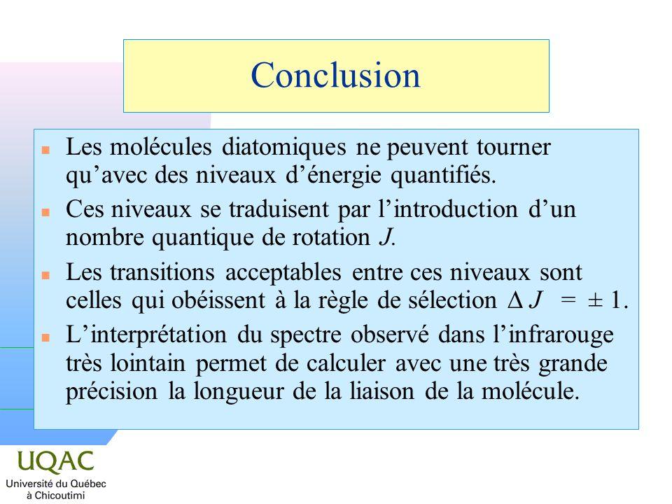 Conclusion Les molécules diatomiques ne peuvent tourner qu'avec des niveaux d'énergie quantifiés.