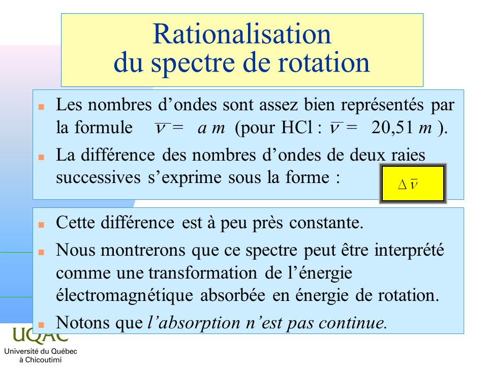 Rationalisation du spectre de rotation