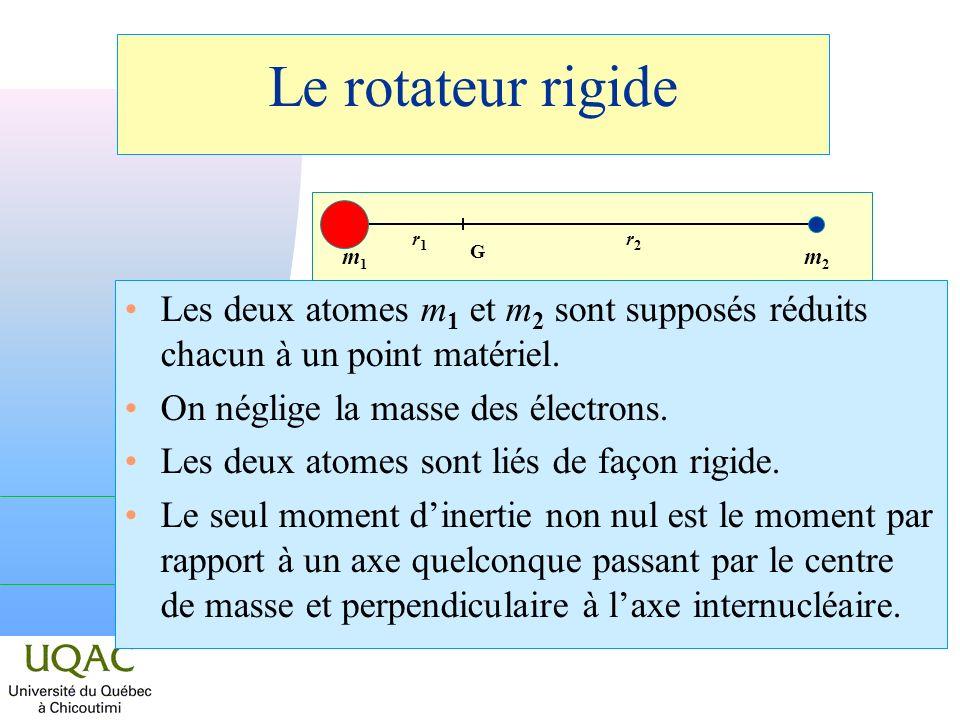 Le rotateur rigide m1. r1. m2. r2. G. Les deux atomes m1 et m2 sont supposés réduits chacun à un point matériel.