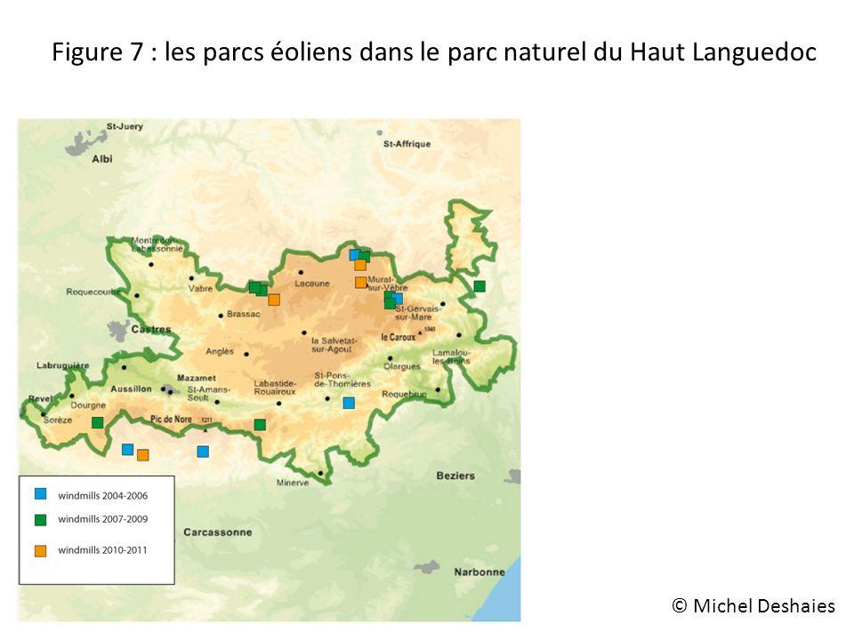 Figure 7 : les parcs éoliens dans le parc naturel du Haut Languedoc