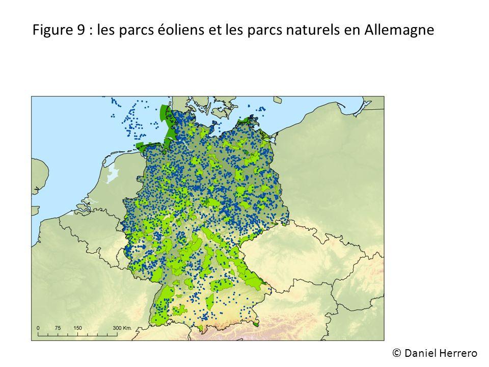 Figure 9 : les parcs éoliens et les parcs naturels en Allemagne