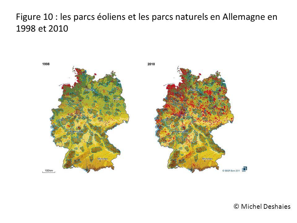 Figure 10 : les parcs éoliens et les parcs naturels en Allemagne en 1998 et 2010