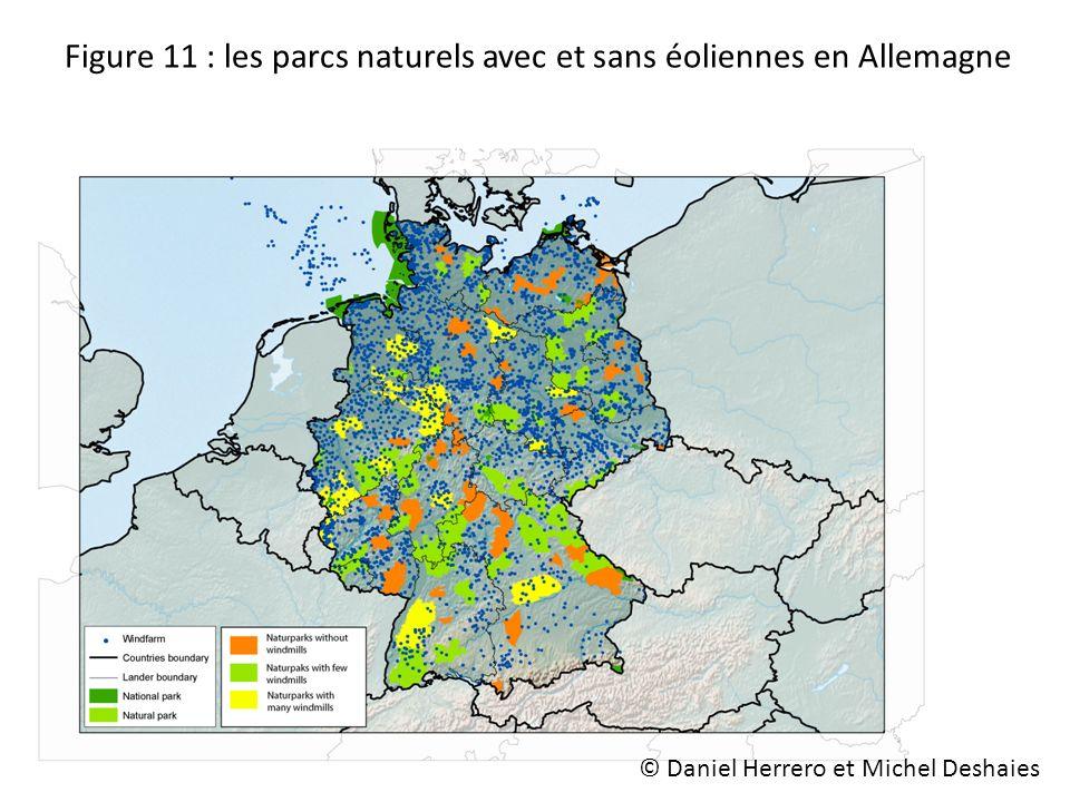 Figure 11 : les parcs naturels avec et sans éoliennes en Allemagne