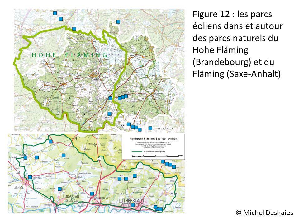 Figure 12 : les parcs éoliens dans et autour des parcs naturels du Hohe Fläming (Brandebourg) et du Fläming (Saxe-Anhalt)