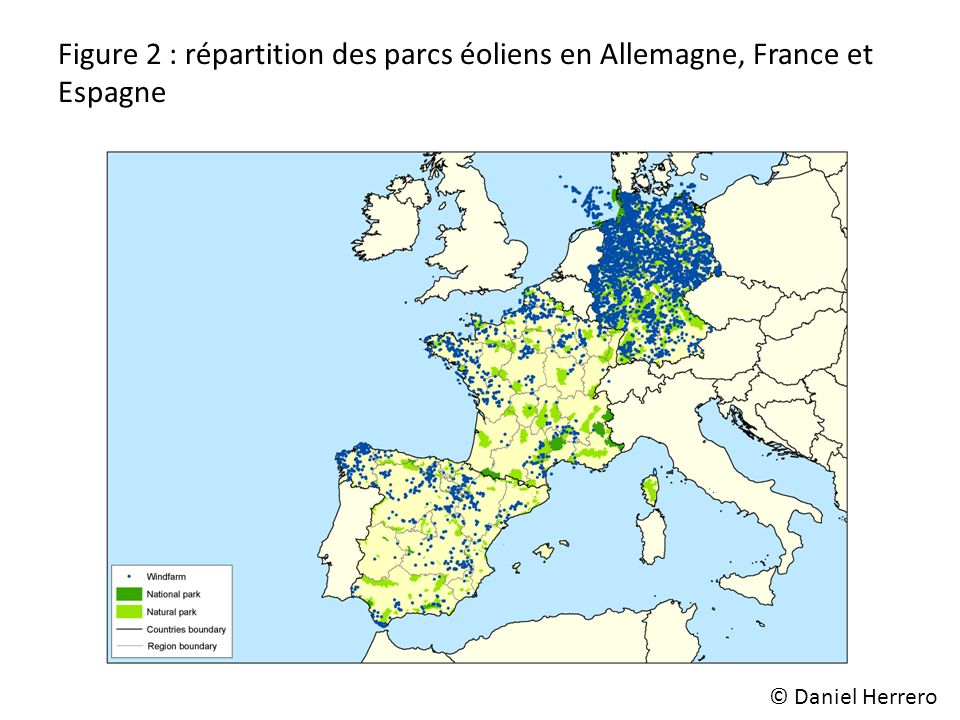 Figure 2 : répartition des parcs éoliens en Allemagne, France et Espagne