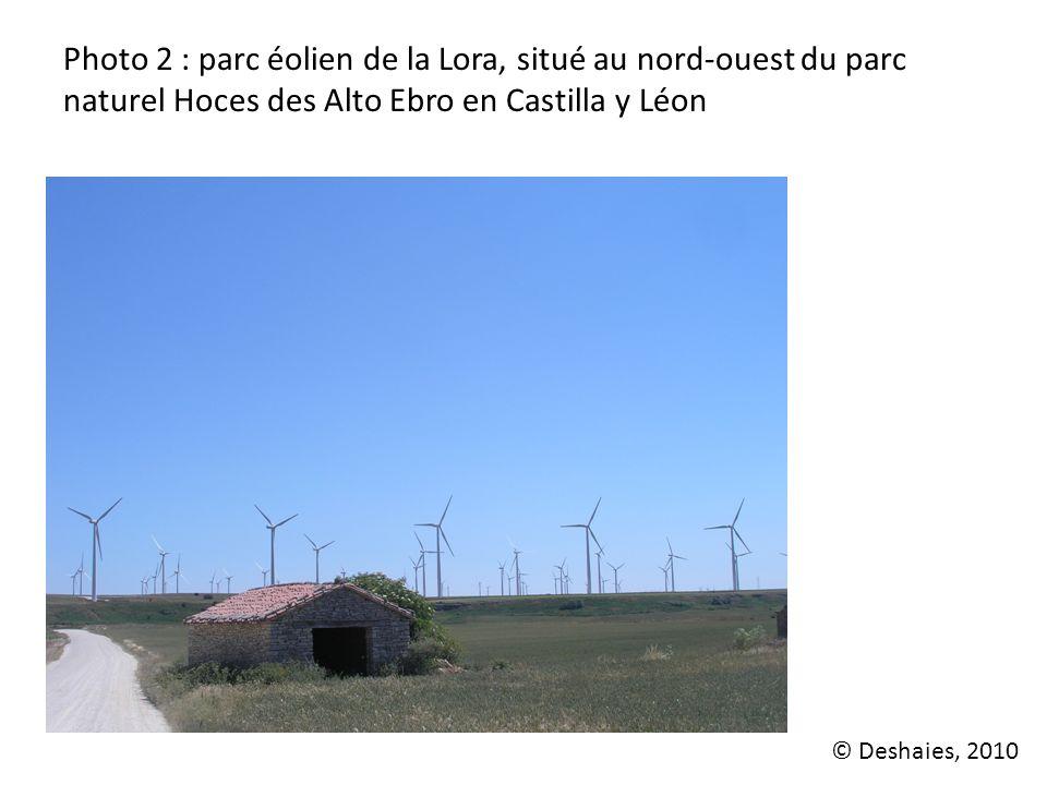 Photo 2 : parc éolien de la Lora, situé au nord-ouest du parc naturel Hoces des Alto Ebro en Castilla y Léon