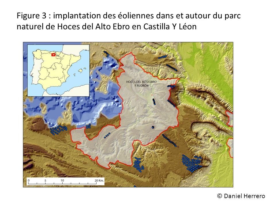 Figure 3 : implantation des éoliennes dans et autour du parc naturel de Hoces del Alto Ebro en Castilla Y Léon
