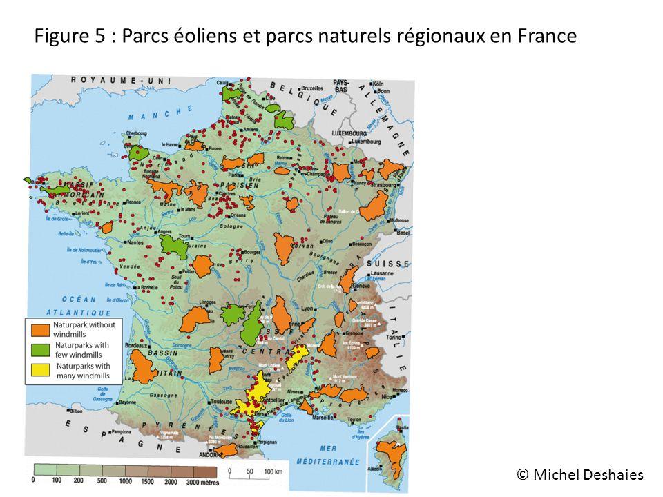 Figure 5 : Parcs éoliens et parcs naturels régionaux en France