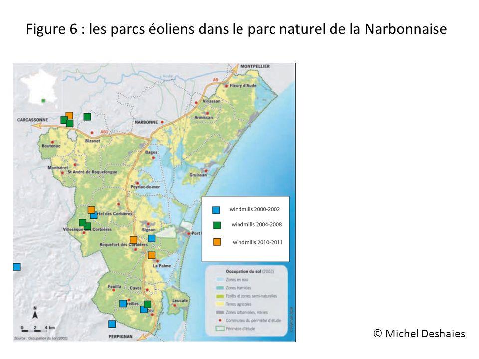 Figure 6 : les parcs éoliens dans le parc naturel de la Narbonnaise