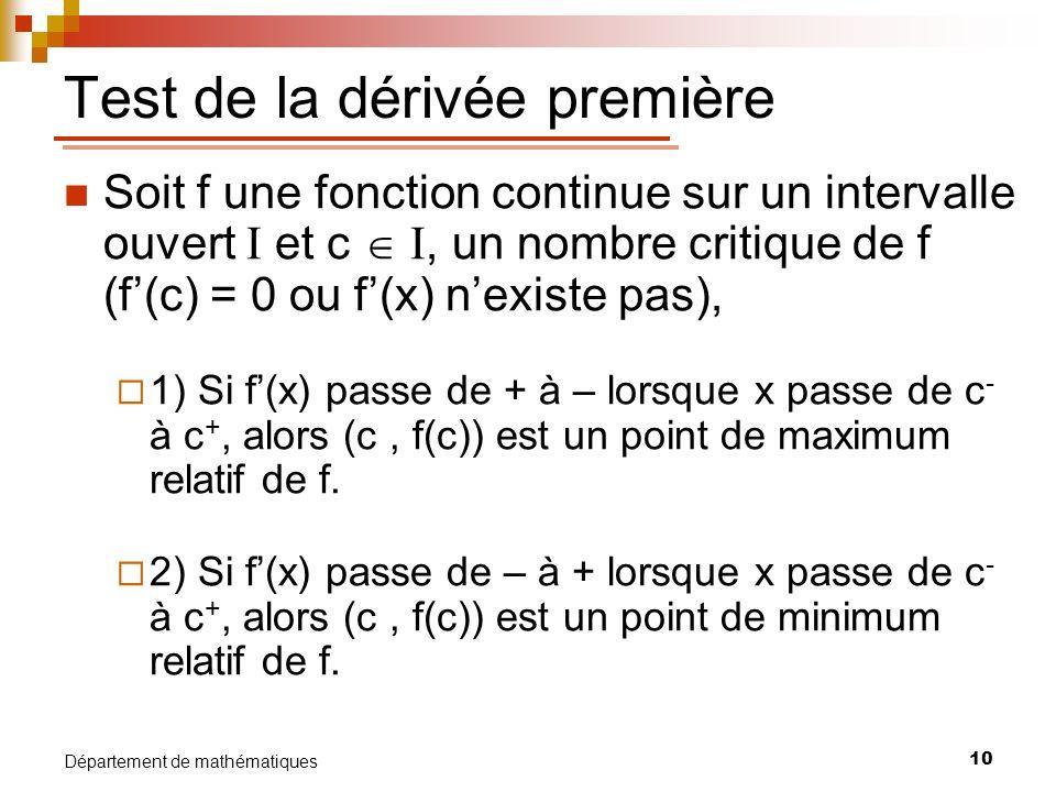 Test de la dérivée première