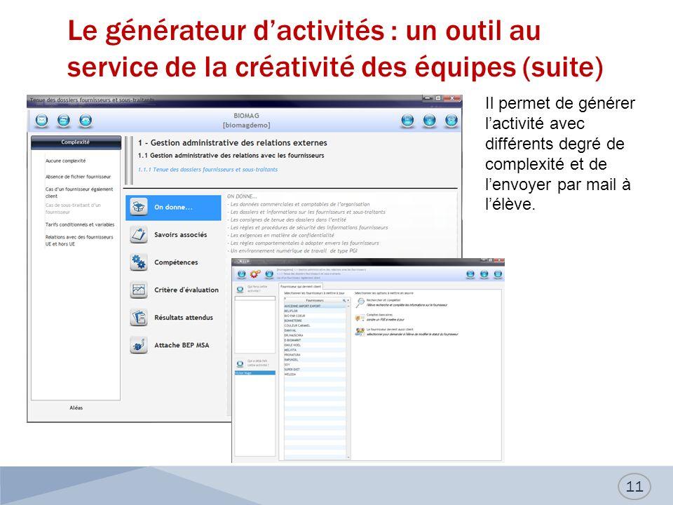 Le générateur d'activités : un outil au service de la créativité des équipes (suite)