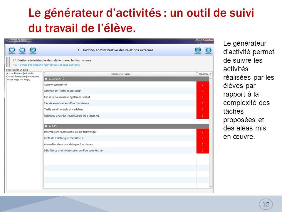 Le générateur d'activités : un outil de suivi du travail de l'élève.