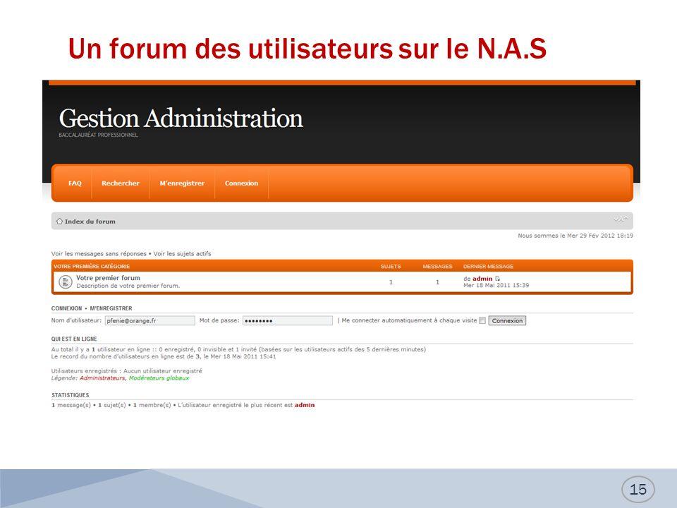 Un forum des utilisateurs sur le N.A.S