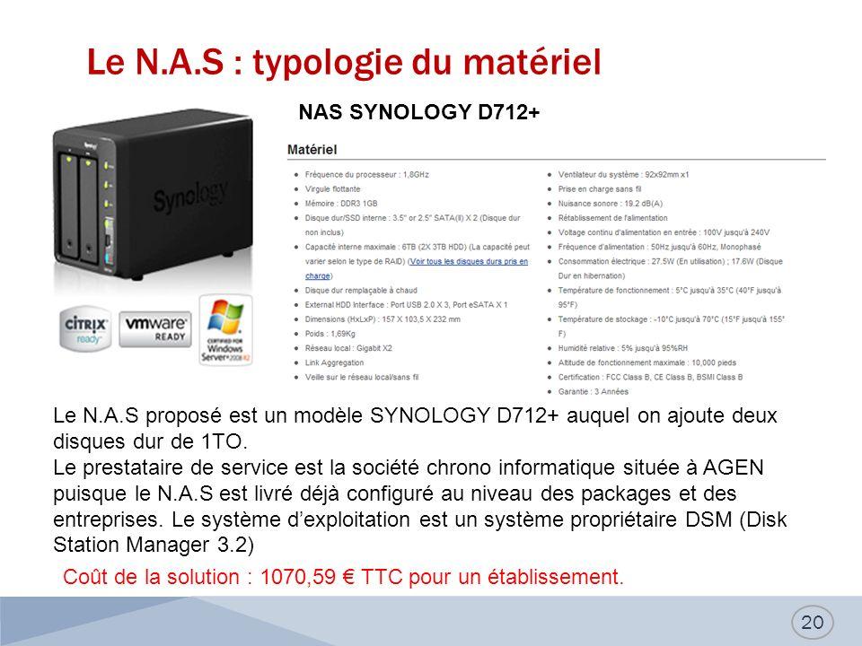 Le N.A.S : typologie du matériel