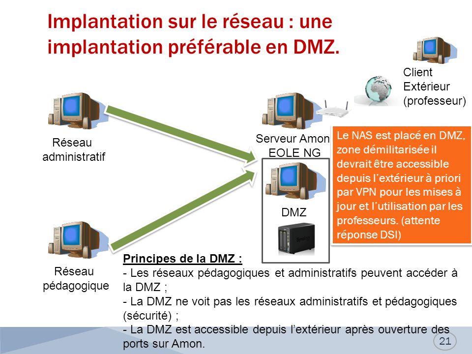 Implantation sur le réseau : une implantation préférable en DMZ.