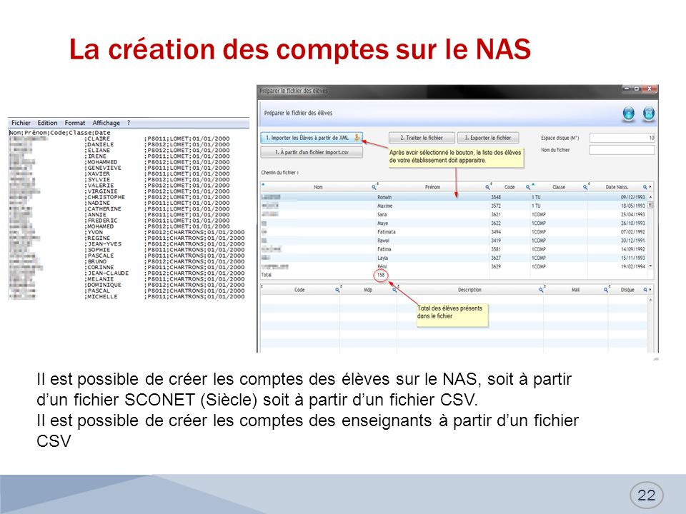 La création des comptes sur le NAS