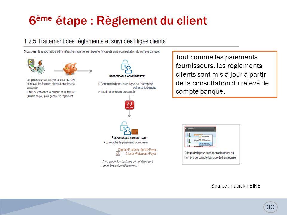 6ème étape : Règlement du client