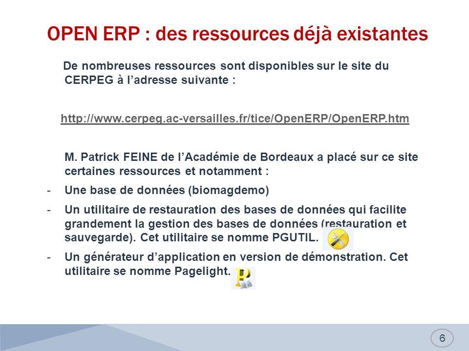 OPEN ERP : des ressources déjà existantes