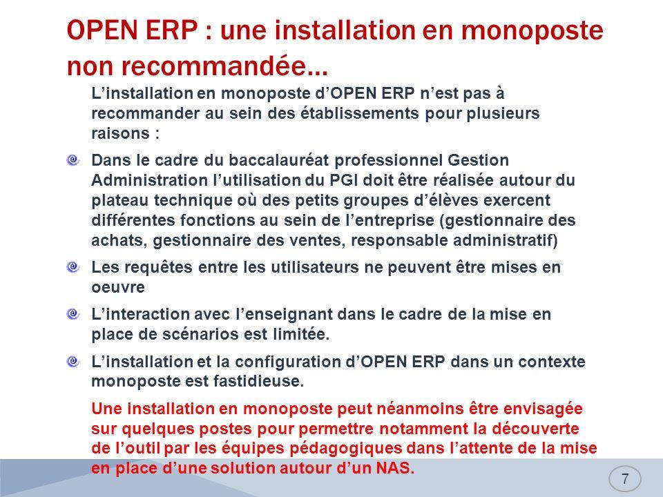 OPEN ERP : une installation en monoposte non recommandée…
