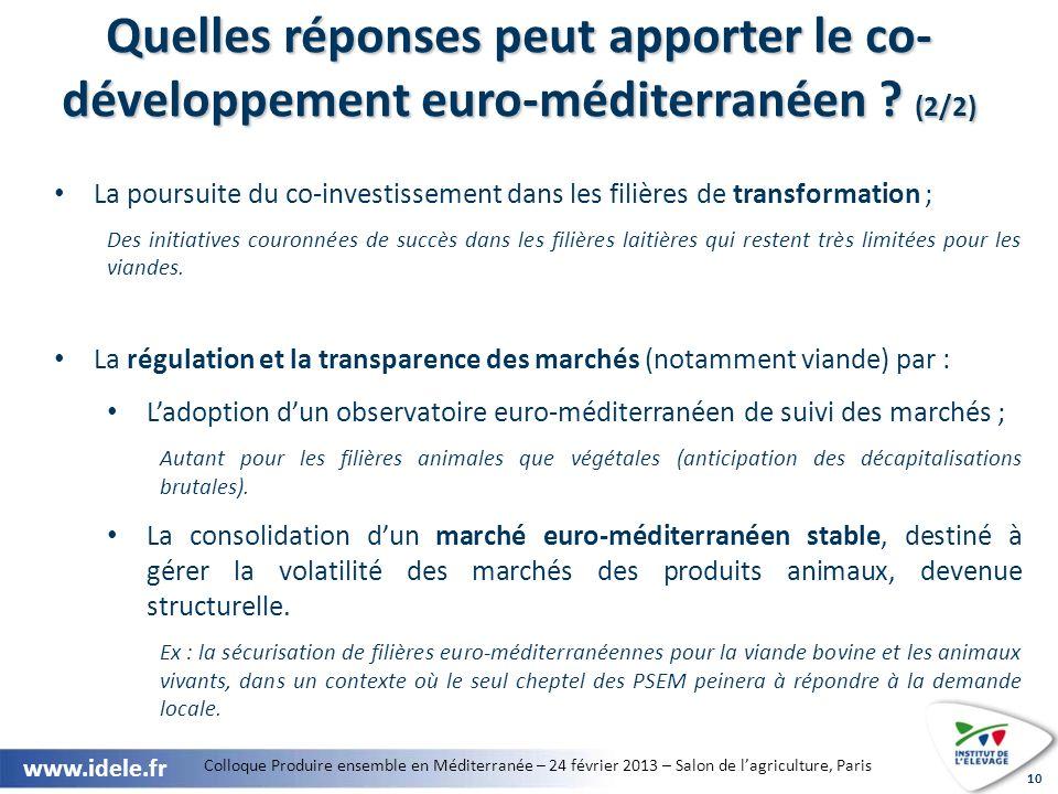 Quelles réponses peut apporter le co-développement euro-méditerranéen