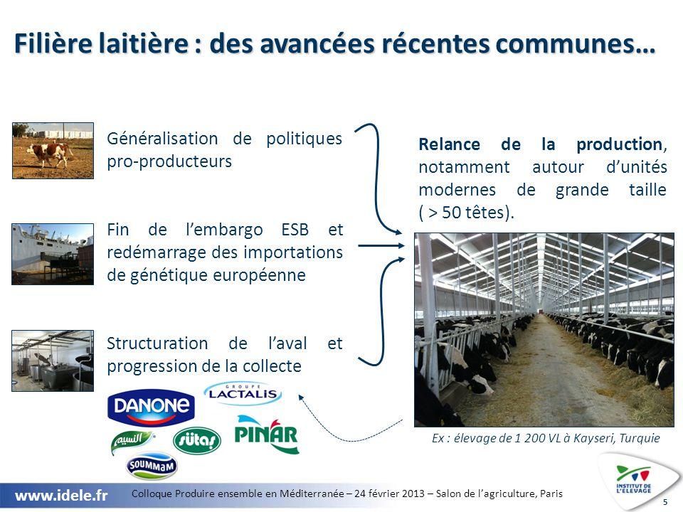 Filière laitière : des avancées récentes communes…