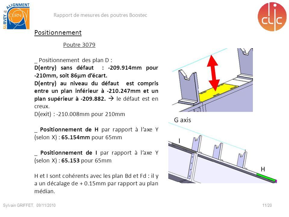 Positionnement Poutre 3079 _ Positionnement des plan D :