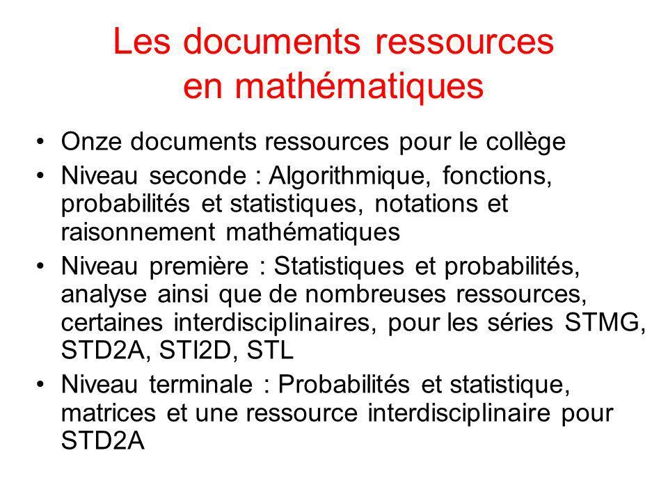 Les documents ressources en mathématiques