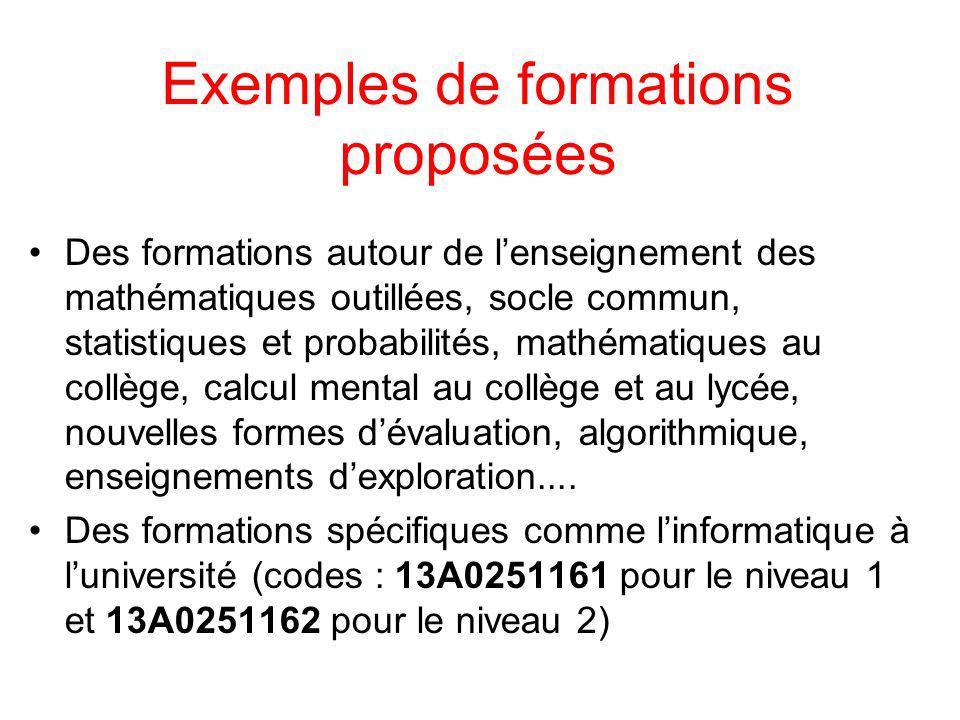 Exemples de formations proposées