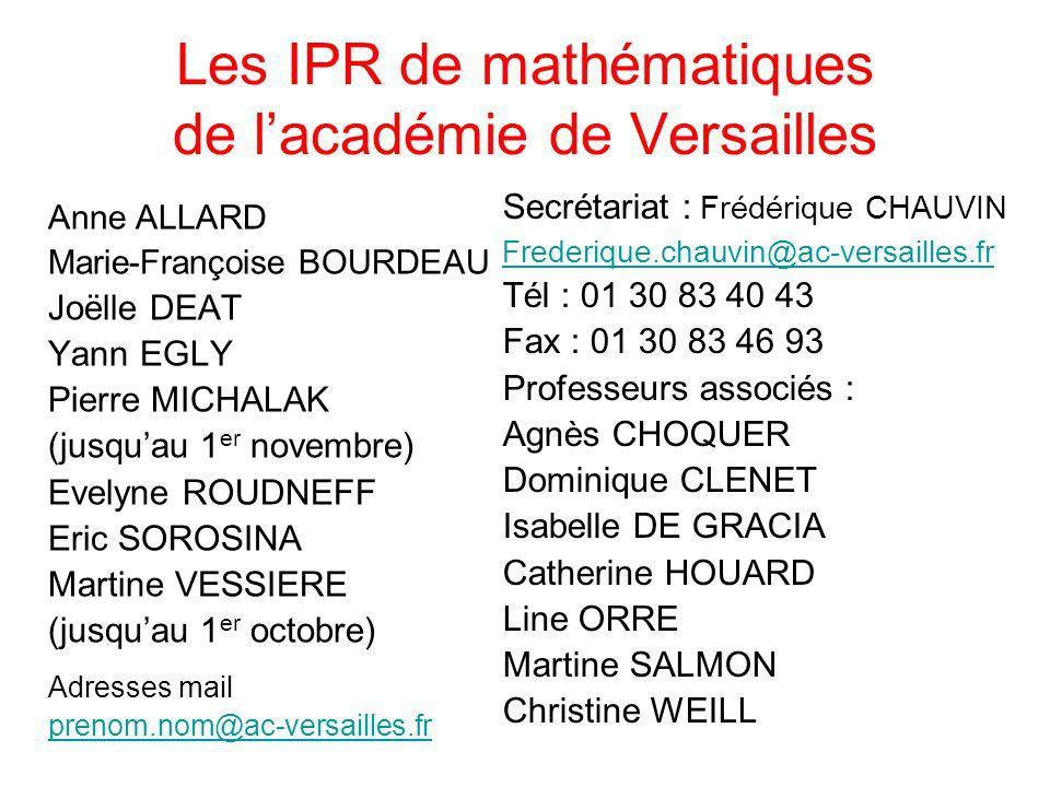 Les IPR de mathématiques de l'académie de Versailles